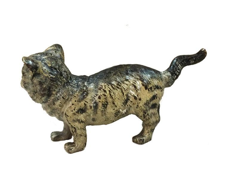Painted Franz Xavier Bergman, A Cat, Miniature Vienna Bronze Sculpture ca. 1900 For Sale