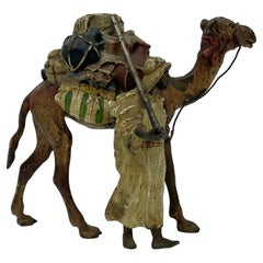 Franz Bergman Bronze Arab & Camel Group, c. 1900