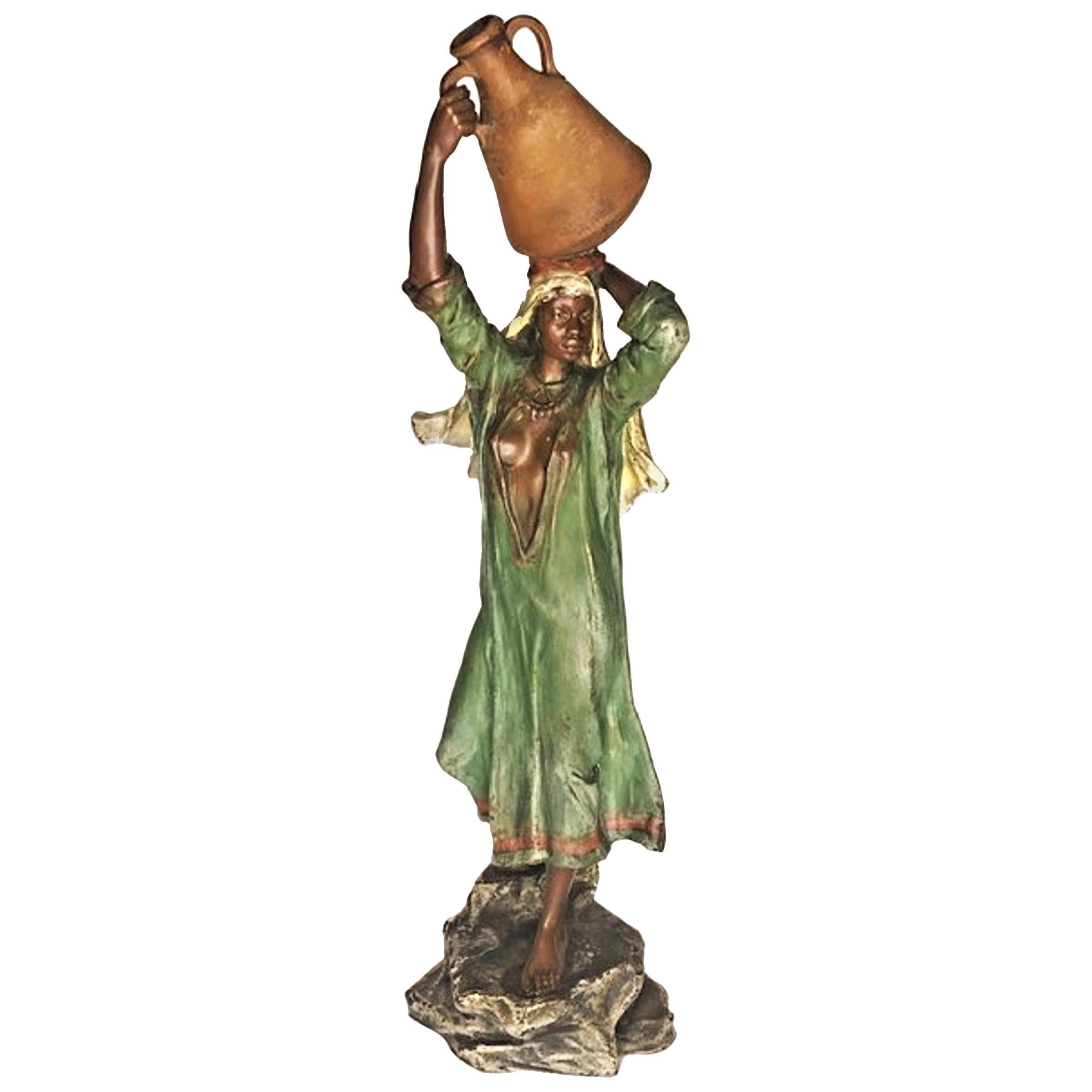 Franz Bergmann, Egyptian Woman w/ Pitcher, Vienna Bronze Sculpture, Ca. 1900