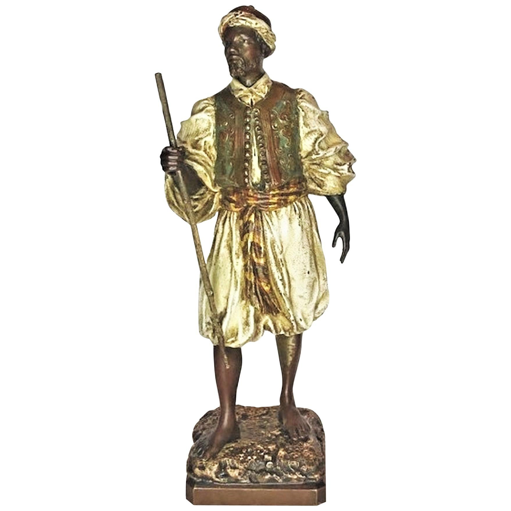 Franz Bergmann, Moorish Traveler w/ Staff, Vienna Bronze Sculpture, Ca. 1900