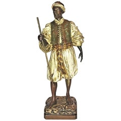 Franz Bergmann, Moorish Traveler w/ Staff, Vienna Bronze Sculpture, Ca. 1900