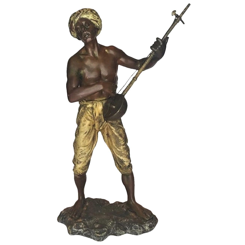 Franz Bergmann, Nubian Banjira Player, Vienna Bronze Sculpture, Ca. 1900