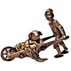 Franz Bergmann, Riding Wheelbarrow, Miniature Vienna Bronze Sculpture