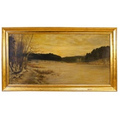 Franz Bombach 19th Century Oil on Canvas German Signed Lake View Painting, 1890