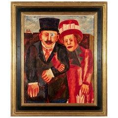 """Franz Borghese 'Rome 1941-2005' Oil On Canvas Titled """"Conivgi"""""""