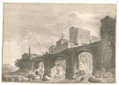 Old Bridge - Origina Etching by F.E. Weirotter - Half of 1700
