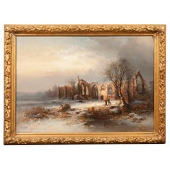 Franz Emile Krause 'Bolton Abbey' Winter Landscape Oil