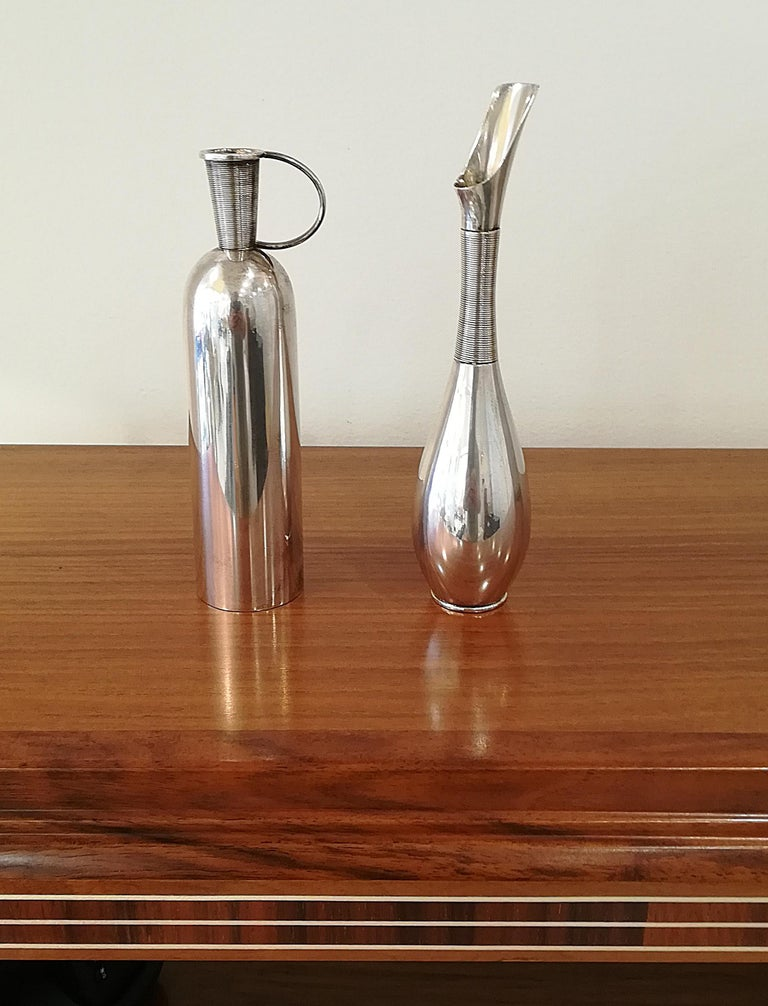 Franz Hindelberg Two 925 Sterling Silver Orchid Vases, circa 1930 For Sale 6