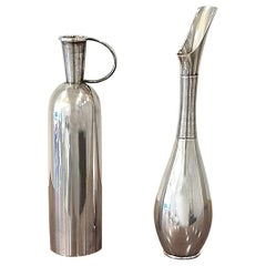 Franz Hindelberg Two 925 Sterling Silver Orchid Vases, circa 1930