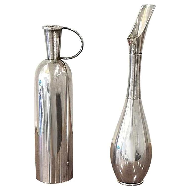 Franz Hindelberg Two 925 Sterling Silver Orchid Vases, circa 1930 For Sale