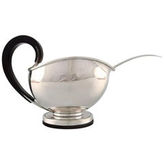 Franz Hingelberg, Denmark, Funkis Sauce Boat with Sauce Spoon in Sterling Silver