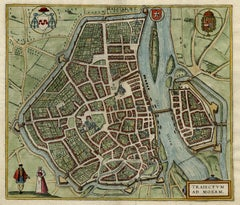 Antique map of Maastricht by Braun - Hogenberg - Handcoloured engraving - 16th c