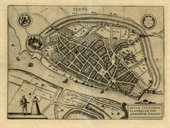 Antique map - Sluis (Sluys) in Zeeland by Braun - Hogenberg - Engraving - 16th c