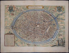 "Bruges, Antique Map from ""Civitates Orbis Terrarum"" - Etching - Old Master"