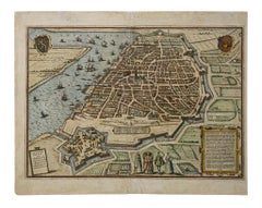 Map of Antwerp - Original Etching by G.Braun and F. Hogenberg -Late 16th century