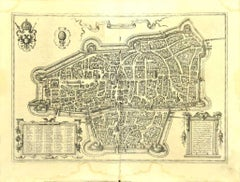 Map of Augsburg -  Etching by G. Braun e F. Hogenberg - Late 16th Century