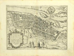 Map of Magdeburg - Etching by G. Braun e F. Hogenberg - Late 16th Century