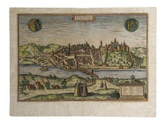 Map of Meissen - Original Etching by George Braun - Late 16th Century