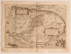 Map of the Netherlands - Etching by G. Braun and F. Hogenberg -Late 16th Century