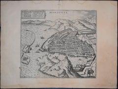"""Marseille, Antique Map from """"Civitates Orbis Terrarum"""""""