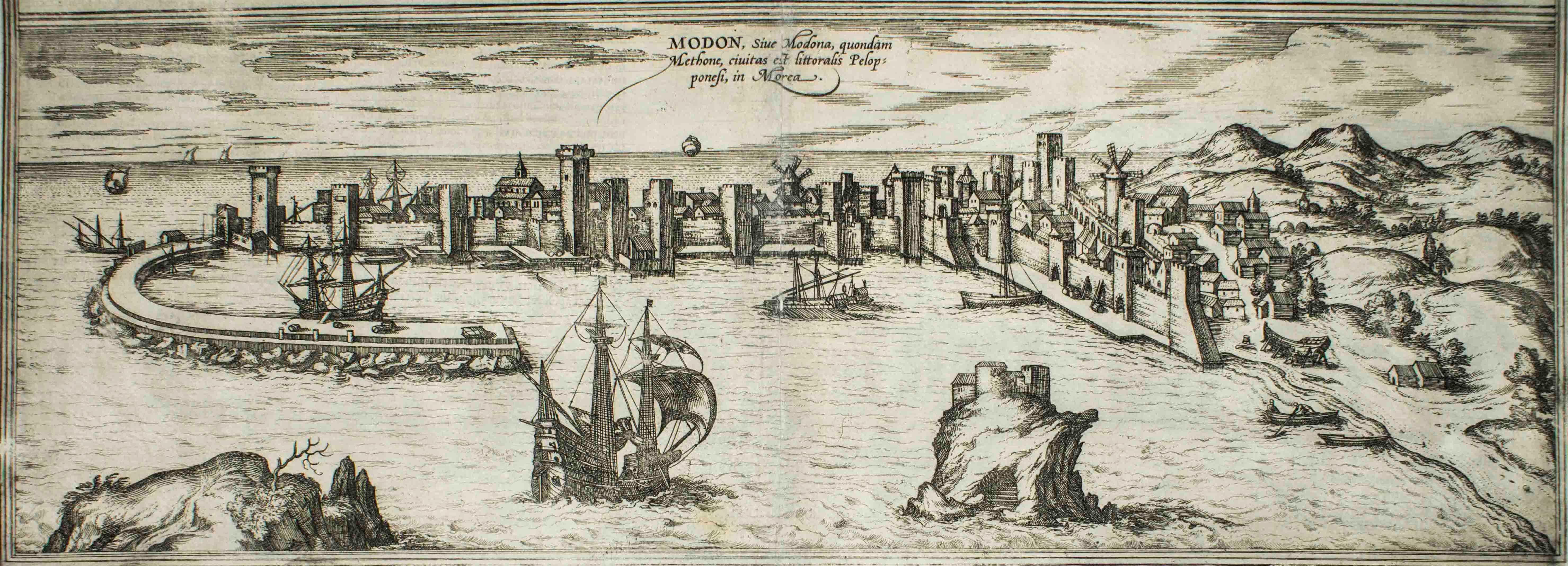 "Modon, Map from ""Civitates Orbis Terrarum"" - by F. Hogenberg - 1575"