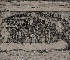 """Mombasa, Antique Map from """"Civitates Orbis Terrarum"""""""