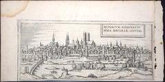 """Munchen, Antique Map from """"Civitates Orbis Terrarum"""" - 1572-1617"""