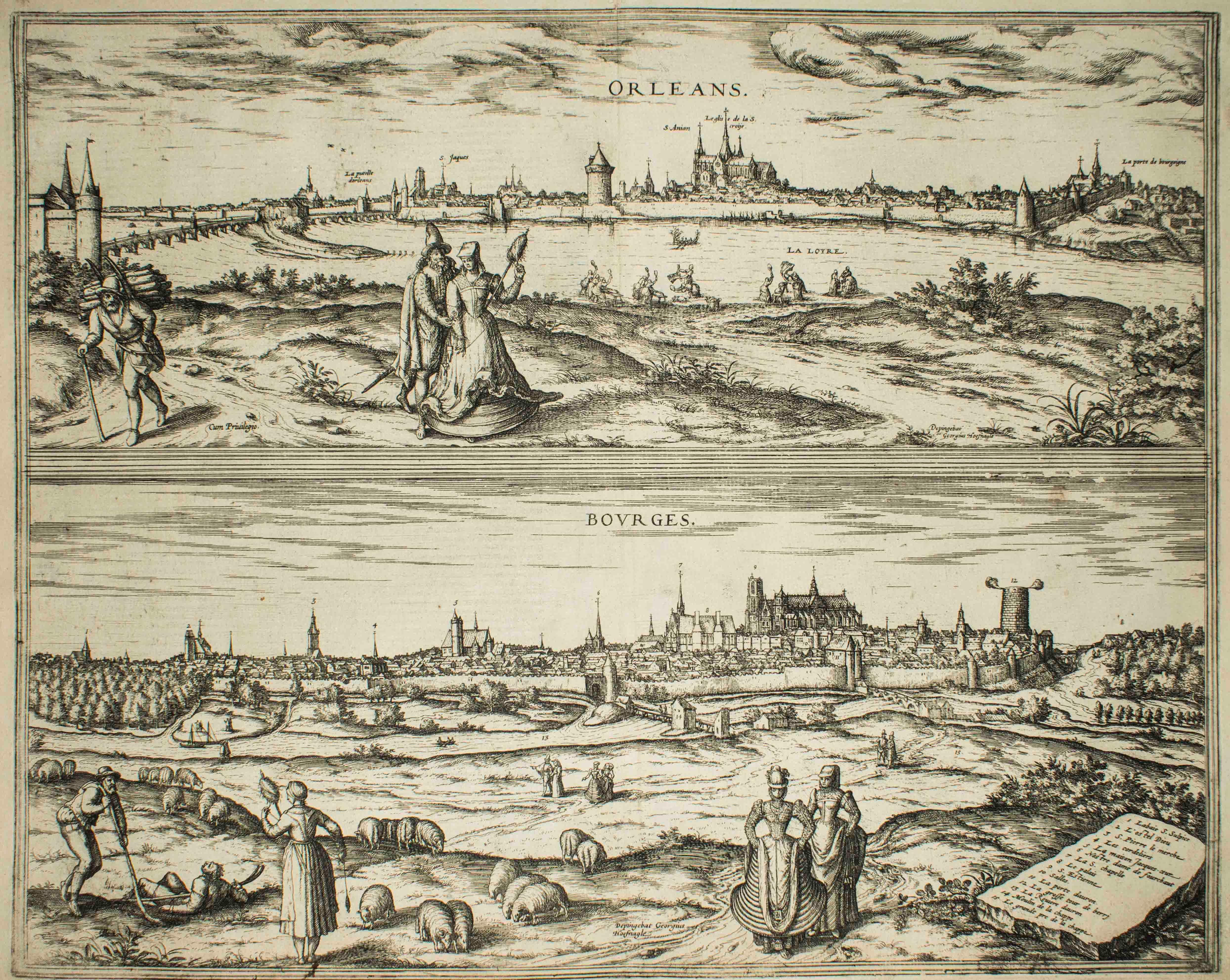 """Orleans and Bourges, Map from """"Civitates Orbis Terrarum""""-by F. Hogenberg - 1575"""