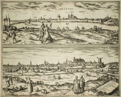 "Orleans and Bourges, Map from ""Civitates Orbis Terrarum""-by F. Hogenberg - 1575"