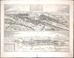"Prague and Egra, Antique Map from ""Civitates Orbis Terrarum"" - 1572-1617"