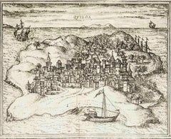 "Quiloa, Map from ""Civitates Orbis Terrarum"" - by F.Hogenberg - 1575"