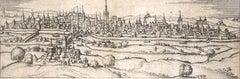 """Regensburg, Antique Map from """"Civitates Orbis Terrarum"""""""