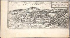 """Salzburg, Map from """"Civitates Orbis Terrarum""""-by F. Hogenberg - 1575"""