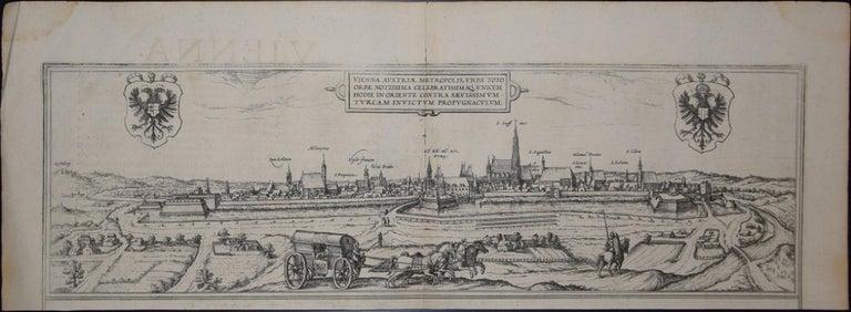 "Frans Hogenberg Figurative Print - Vienna, Antique Map from ""Civitates Orbis Terrarum"" - Etching - Old Master"