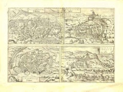 View of 4 Ancient German Cities - Original Etching by G. Braun and F. Hogenberg