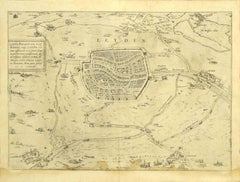 View of Leiden - Original Etching by G. Braun and F. Hogenberg - Late 1500
