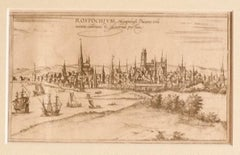 View of Rostock - Original Etching by G. Braun and F. Hogenberg - 16th Century