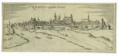 View of Straubing - Etching by G. Braun and F. Hogenberg - Late 16th Century