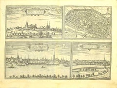 Views of 4 Cities- Etching by G. Braun and F. Hogenberg - Late 16th Century