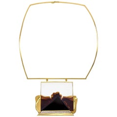 Franz Huppertz, Modernist Gold, Diamond Agate and Ceramic Choker Necklace