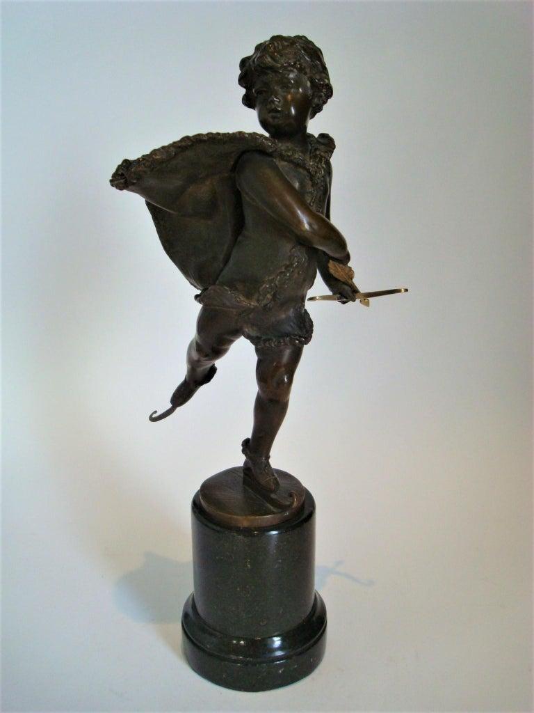 Art Nouveau Franz Iffland Bronze Sculpture of a Cupid Boy Ice Skater, ca 1900 For Sale