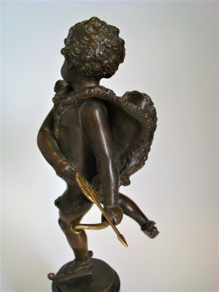 Patinated Franz Iffland Bronze Sculpture of a Cupid Boy Ice Skater, ca 1900 For Sale