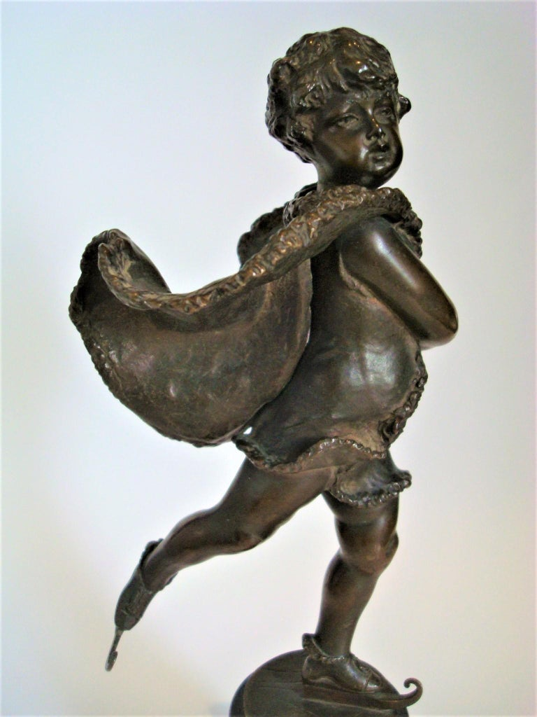 20th Century Franz Iffland Bronze Sculpture of a Cupid Boy Ice Skater, ca 1900 For Sale