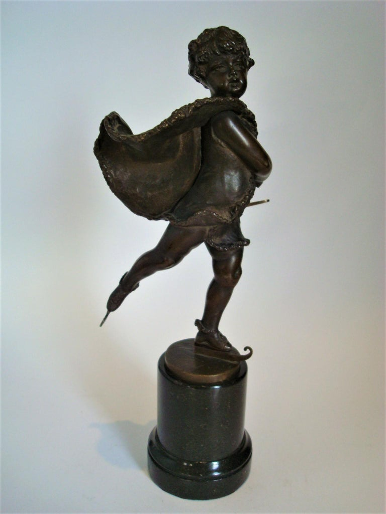 Franz Iffland Bronze Sculpture of a Cupid Boy Ice Skater, ca 1900 For Sale 1