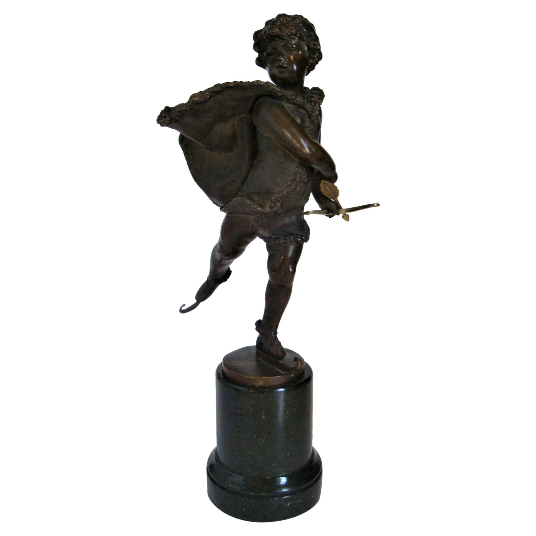 Franz Iffland Bronze Sculpture of a Cupid Boy Ice Skater, ca 1900