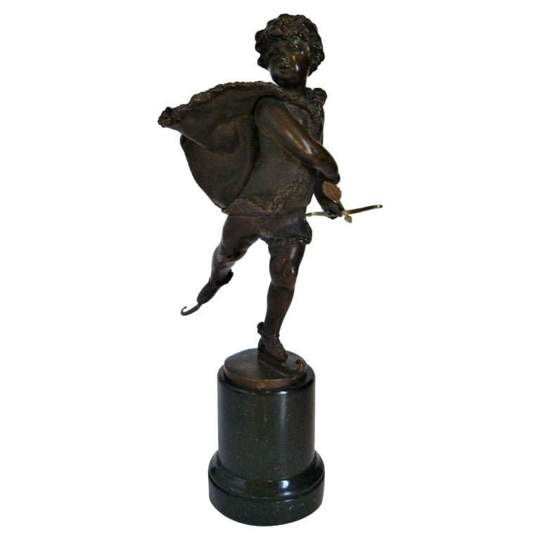 Franz Iffland Bronze Sculpture of a Cupid Boy Ice Skater, ca 1900 For Sale
