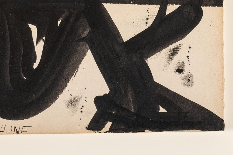 Mid-20th Century Franz Kline, Signed Abstract Ink on Paper, USA 1950s For Sale