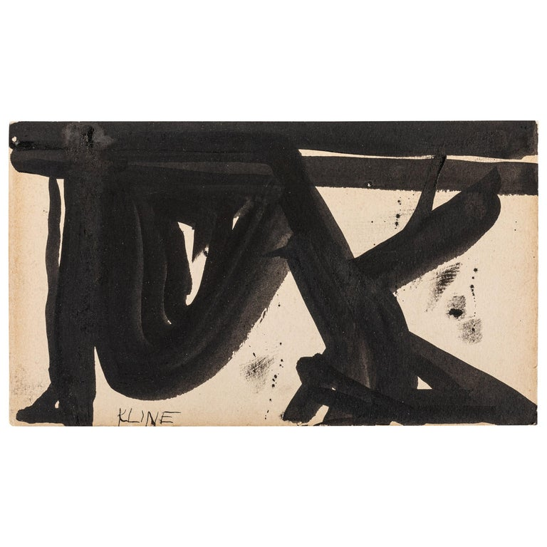 Franz Kline, Signed Abstract Ink on Paper, USA 1950s For Sale