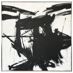 Franz Kline Style Abstract Black and White Painting
