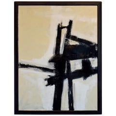 Franz Kline Style Abstract Expressionist Painting in White, Gray and Black